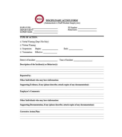 Download Disciplinary Action Form 01 Employee Evaluation