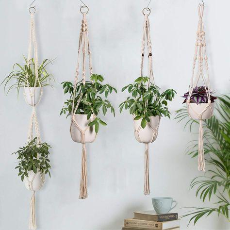 Handmade Indoor Wall Hanging Planter Plant Holder 4 Pack Macrame Plant Hangers In Different Designs Modern Boho Home Decor