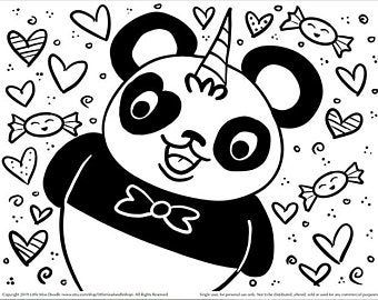 Pandacorn Doodle Printable Cute Kawaii Coloring Page For Kids And Adults Unicorn Coloring Pages Cute Coloring Pages Bear Coloring Pages
