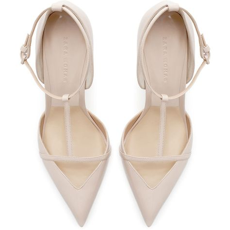Zara TRF Sling Back Nude High 4 Heels Faux Patent Leather