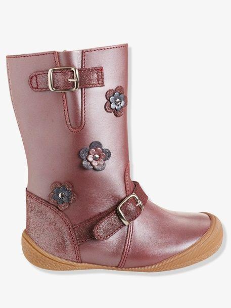 Oblea notificación cuatro veces  Botas de piel especial guardería, para niña - Gris Oscuro Metalizado+Rosa  Perla - 3   Zapatos para niñas, Botas de piel, Zapatos de muñeca