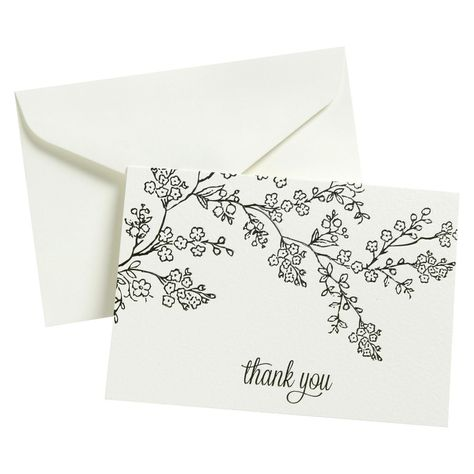 Embroidery Beginners Thank You - 50 Ct Flp Blk Line Floral, Multi-Colored - This card pack has a Thank You theme and contains 50 cards. This off-white card pack features a lovely floral pattern. Cute Cards, Diy Cards, Your Cards, Cute Thank You Cards, Envelopes Decorados, Thank You Card Design, Envelope Art, Affinity Designer, Motif Floral