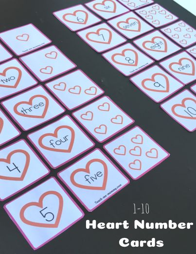 Heart Number Cards Heart Number Cards From 1 To 10 To Work On Number Order Fill In Miss Preschool Valentines Activities Valentine Activities Numbers Preschool