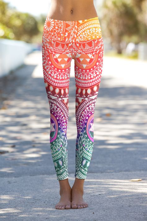 Chakra Diamonds yoga leggings with a vibrant pattern and colors to infuse your spirit with vibrant, positive energy. Positive vibes made into a fabulous pair of eco-friendly performance leggings.