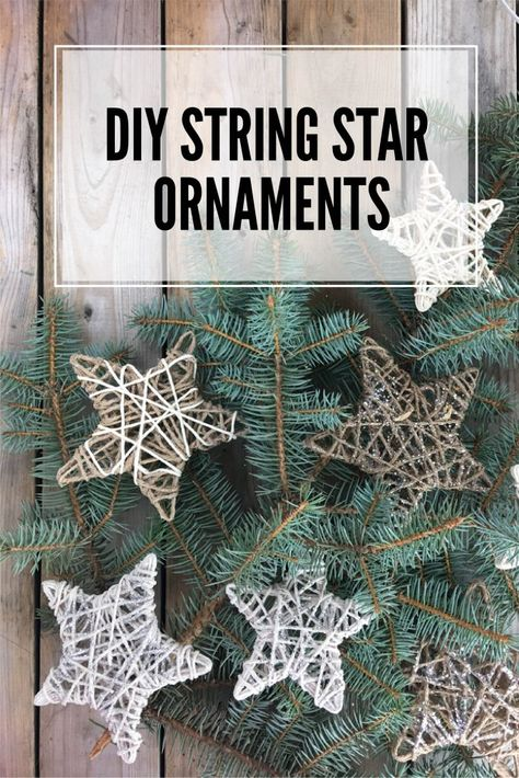 DIY String Star Ornaments These string star ornaments are a simple DIY project for your Christmas ornaments. Plus it's cheap, too. Clay Christmas Decorations, Christmas Ornament Crafts, Star Ornament, Christmas Crafts For Kids, Christmas Projects, Diy Christmas Gifts, Holiday Crafts, Diy Ornaments, Beaded Ornaments