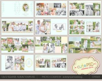 On Sale Wedding Album Template 12 X 12 Elegant Gold Etsy Wedding Album Templates Wedding Album Wedding Album Design