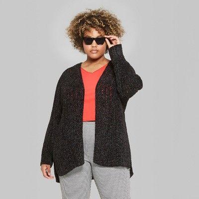 73b6d60cbb49 Women s Plus Size Long Sleeve Chenille Open Cardigan - Wild Fable 1X Black