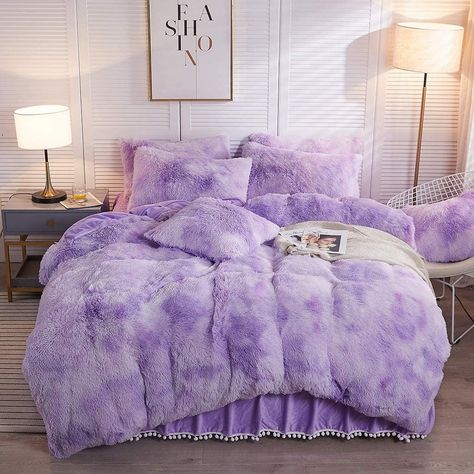 Bedding Description Tapestry Girls Softy Bed Sets are the type of decor that any cozy room should be equipped with! Tapestry Girls Softy Bed Sets come in several sizes, have silky smooth material, and are made with organic materials and cruelty free. Get the Softy Bed Sets ONLY at Tapestry Girls! Sizes: Twin, Queen and King Includes: Comforter + 2 Pillow Shams SUPER SOFT - Durable, soft, lightweight, fade-resistant and wrinkle-resistant. Design: Duvet cover features a luxury fluffy Mongolian fur Purple Bedroom Decor, Cute Bedroom Decor, Purple Bedrooms, Room Ideas Bedroom, Bedroom Designs, Crystal Bedroom Decor, Pastel Room, Aesthetic Room Decor, Cozy Room