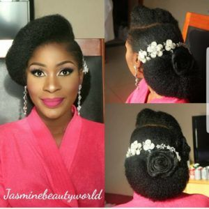 35 Stunning Hairstyles For Nigeria Brides Natural Bridal Hair Wedding Hairstyles With Crown Wedding Hair Care