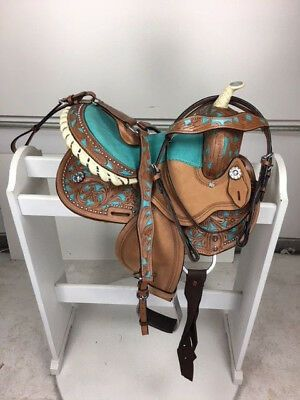 Advertisement Ebay 10 New Western Leather Youth Child Kids Trail Barrel Horse Saddle Teal Hs Bc Horse Saddles Western Horse Saddles Horse Accessories