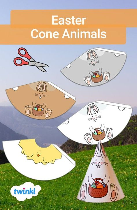 Let your children unleash their creativity by making these lovely Easter-themed cone animals! Simply print out the sheets, cut out the template and stick it together to create a cone. You can hang the cones up with a string and decorate your house! Click to download and find more spring-themed crafts and activities!  #easter #coneanimals #eastercrafts #cutouts #template #spring #springcrafts #twinkl #twinklresources #papercrafts #activity #homelearning #home #parents #papercraft #craftsforkids