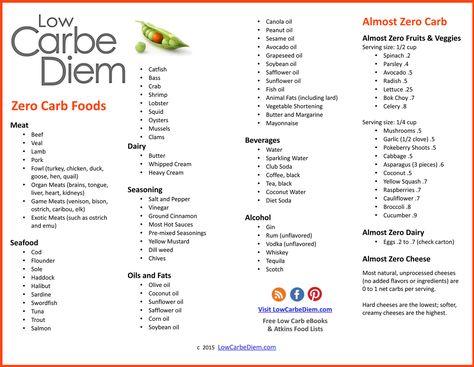 Zero Carb Foods List Free Download pdf