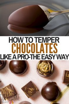 Tempered chocolate is shiny and reflective and breaks with a clean crisp break. There are a variety of ways to temper chocolate, but I'm going to show you how to temper chocolate the absolute easiest way – all you need is chocolate and a microwave! Chocolate Garnishes, Chocolate Candy Recipes, Chocolate Dipped Fruit, Chocolate Candy Molds, Chocolate Treats, Chocolate Hazelnut, Melting Chocolate, Tempering Chocolate, Chocolate Bowls