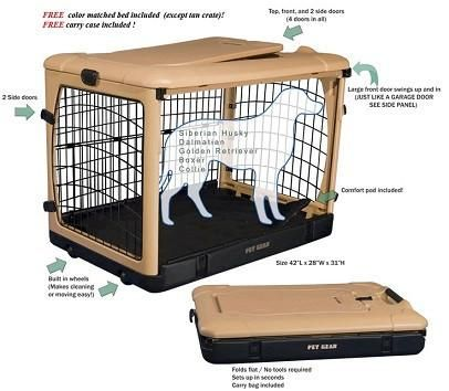 3 Door Rolling Pet Crate By Pet Gear Folds Flat For Storage Wide