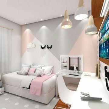 Modernos Diseños Para Paredes De Cuartos A 3 Tonos Como Decorar Mi Cuarto Decoracion De Paredes Dormitorio Decorar Pared Habitacion Decoración De Habitación Juvenil