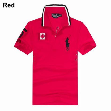 Polo Ralph Lauren Men Custom Fit Big Pony Canada Flag Shirt Magenta