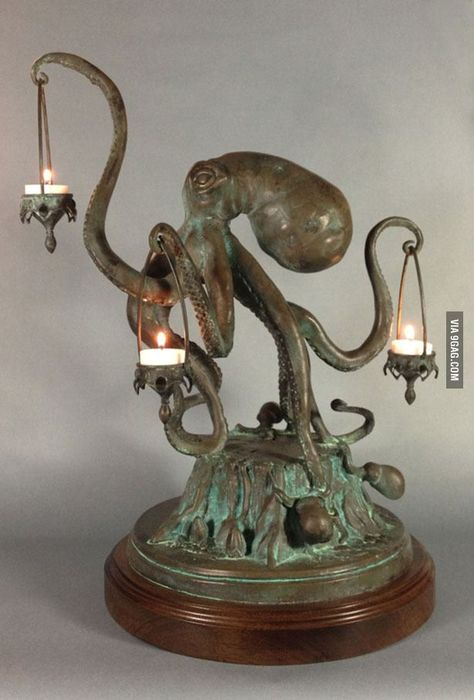 Funny pictures about Octopus Candle Holder. Oh, and cool pics about Octopus Candle Holder. Also, Octopus Candle Holder photos. Octopus Lamp, Octopus Decor, Art Nouveau, Gothic House, My New Room, Table Lamp, Dining Table, Cool Stuff, Awesome Things