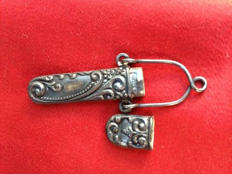 Vintage Sewing Antique Sterling Silver Needle Case