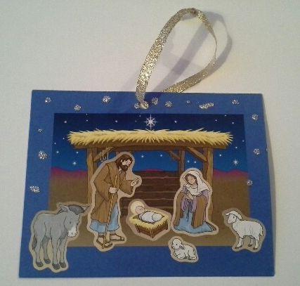 Christmas craft idea using nativity stickers.