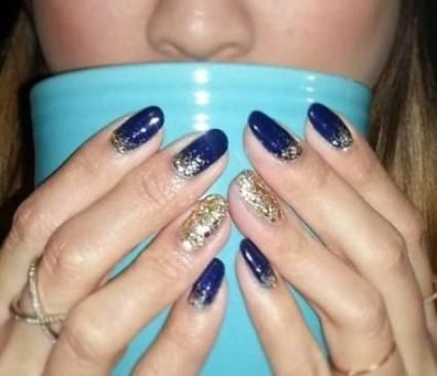 Pedicure Blue Navy 45 Ideas Navy Blue Nails Gold Nails Prom