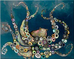 Octopus In The Navy Blue Sea Framed On Canvas Sea Wall Art Octopus Art Deep Blue Sea
