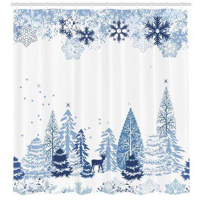 East Urban Home Shower Curtain Set Hooks Christmas Shower