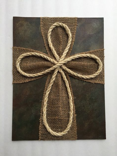 Items similar to Wood Burlap Rope Cross on Etsy – Wreath Wooden Crosses, Crosses Decor, Wall Crosses, Frame Crafts, Crafts To Sell, Wood Crafts, Wooden Cross Crafts, Rope Cross, How To Paint Camo