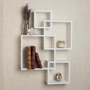 Danya B Contempo 23 5 In W X 23 5 In H White Laminated Mdf Intersecting Squares Decorative Wall Shelf Ff6013w The Home Depot Cube Shelves Shelves Wall Mounted Shelves