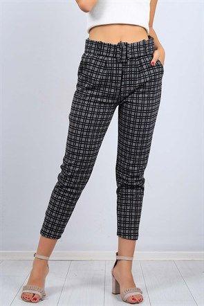 Kemerli Desenli Siyah Bayan Kumas Pantolon 9682b Pantolon Kadin Modasi Tulumlar