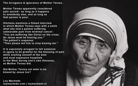 compare mother teresa with the work that jesus did Mother teresa was definitely inspired by jesus jesus cared for the poor and needy and so did mother teresa.
