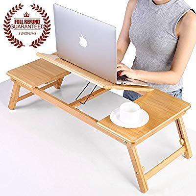 Ej Life Portable Bamboo Foldable Laptop Desk Notebook Adjustable Height Tray Table Bed Table With Drawer Amazon Co Laptop Desk Laptop Table For Bed Bed Table