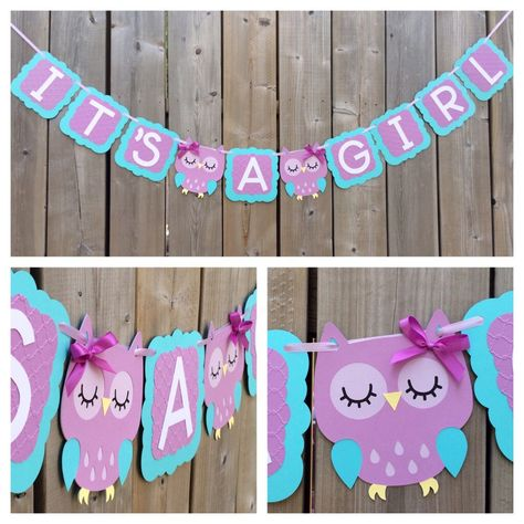 Ready to ship, IT'S A GIRL Owl banner, purple blue owl banner, baby shower decoration, gender reveal by lilcraftychickadee on Etsy https://www.etsy.com/ca/listing/278390798/ready-to-ship-its-a-girl-owl-banner