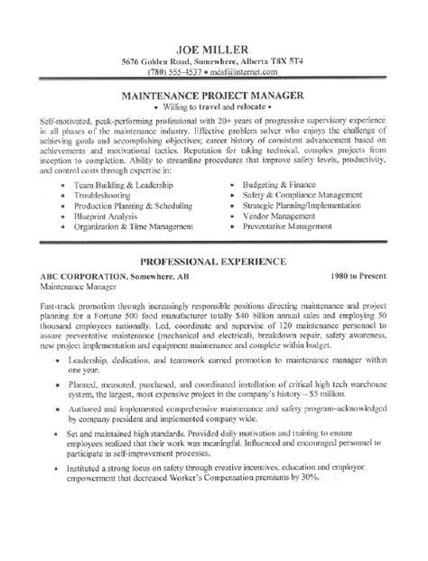 maintenance manager resume sample page writing tips for pinterest - maintenance manager resume sample