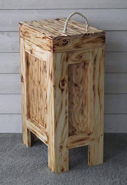Wooden Wood Kitchen Trash Bin Garbage Can Rectangular 13 Gallon
