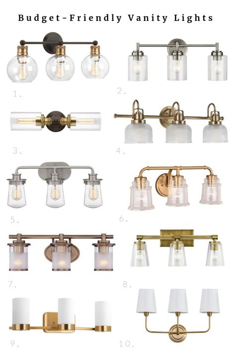 Budget-friendly lighting options for vanity lights. I recently installed two inexpensive fixtures in our bathroom refresh! Here are some of the other budget-friendly lighting options from Lowe's Home…More Bathroom Light Fixtures, Home Lighting, Master Bathroom Design, Bathroom Refresh, Fixtures, Bathroom Decor, Budget Friendly Lighting, Bathroom Lighting, Bathroom Fixtures