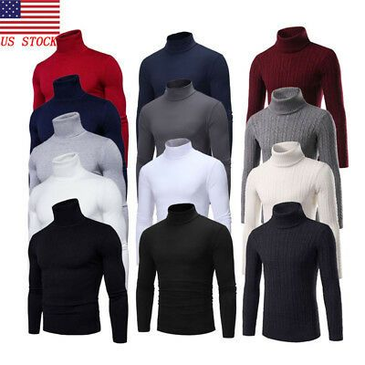 US Men High Neck Turtleneck Cotton Pull Over Sweaters Stretch Jumpers M-2XL
