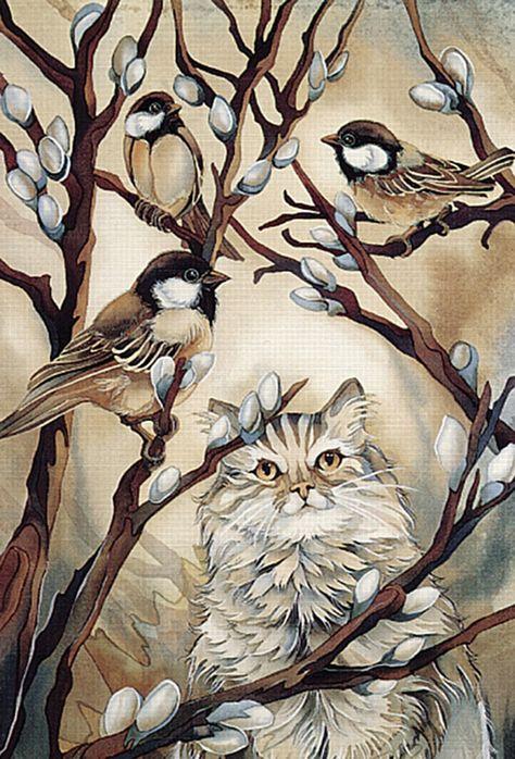 Кот и воробьи картинки