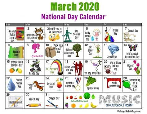 March 2020 National Day Calendar Spring In 2020 National Day