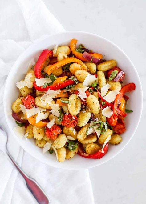 This sheet pan gnocchi is perfect for a last minute dinner or side dish. The gnocchi becomes crispy and the vegetables are roasted to perfection.