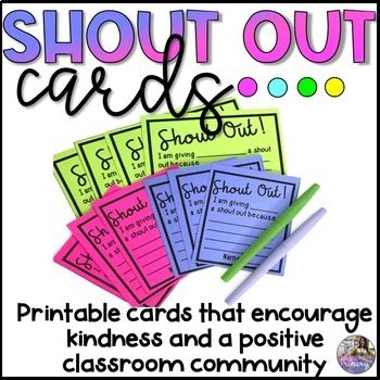 Shout Out Cards Teaching Homeschool Kindness For Kids First Day Of School Activities
