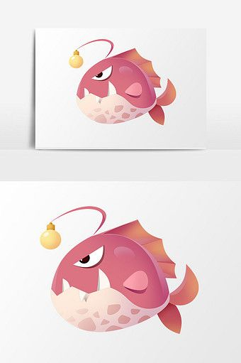 Cartoon Creative Cute Ocean Day Marine Life Lantern Fish Element
