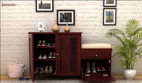 Buy Hopkin Shoe Rack Mahogany Finish Online In India With Images Shoe Rack Living Room Shoe Rack With Seat Wooden Shoe Racks