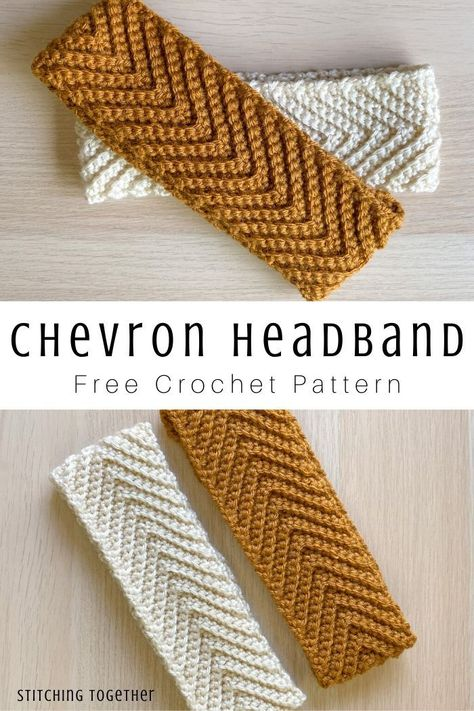 Keep your ears toasty with a free crochet pattern for this simple and classy crochet chevron headband. Keep it neutral or pick bold colors to add flair. Bonnet Crochet, Crochet Beanie, Knit Crochet, Headband Crochet, Crocheted Headbands, Crochet Stitches Free, Free Crochet Headband Patterns, Knitted Headband Pattern, Slouchy Beanie Pattern