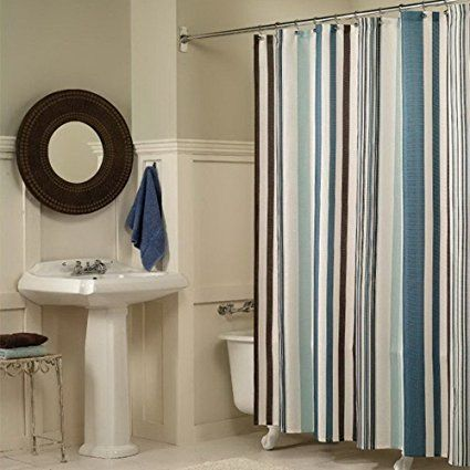 Searchi Striped Fabric Shower Curtain Vertical Stripes Geometric
