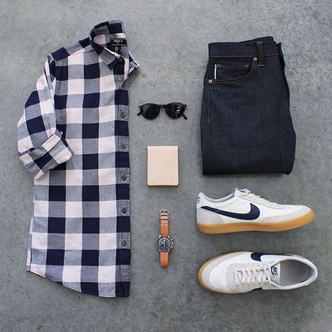 #SuitGrid by: @awalker4715 ________________________________________  Follow @inisikpe for daily style/advice #SuitGrid to be featured  IniIkpe.com for fashion updates and more ________________________________________ Tap For Brands Shirt: @forever21 Denim: @katobrand Shoes: @nike x @jcrew Watch: @omega Glasses: @persol Wallet: @1350leather