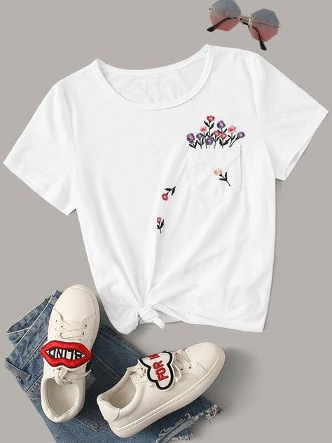 Women Embroidered Floral Pocket Patched Tee - M(6)