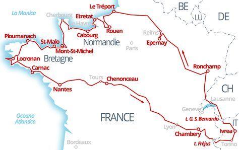 Cartina Geografica Della Loira Francia.3800 Km Champagne Normandia Bretagna E Valle Della Loira Normandia Bretagna Viaggio France