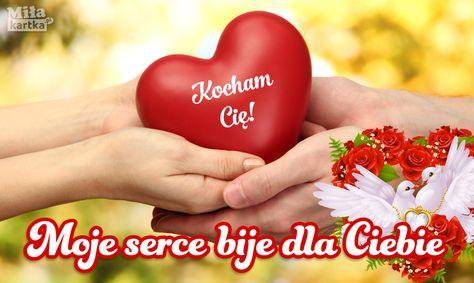 Kartka Z Różami Kocham Cię Walentynki Polska Miłość