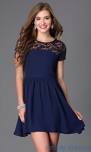 Lace Short Sleeve Navy Blue Cocktail Party Dress | Dress formal ...