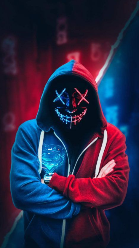 Anonymous Neon Mask Hoodie Iphone Wallpaper Cool Wallpapers For